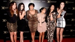 From left, Khloe Kardashian, Kylie Jenner, Kris Jenner, Kourtney Kardashian, Kim Kardashian and Kendall Jenner arrive at the Kardashian Kollection launch party in Los Angeles. (AP / Matt Sayles)