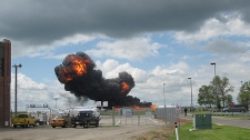 A Canadian Forces C-F18 jet crashed Friday afternoon at the Lethbridge Regional Airport. Image courtesy Paul Dumouchel.