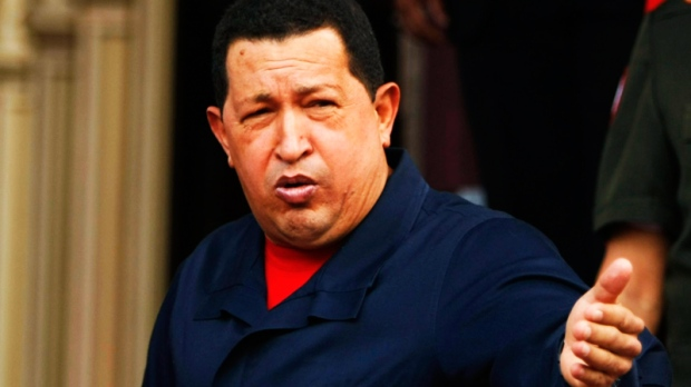 Venezuela's President Hugo Chavez speaks to the media at Miraflores presidential palace in Caracas, Venezuela, Thursday July 22, 2010.  (AP / Fernando Llano)