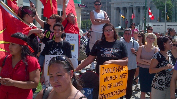 Dozens of people participated on July 11, 2012 in a march and rally in Winnipeg, calling for an inquiry into the issue of missing and murdered women.