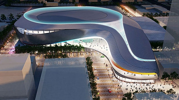 Exterior aerial view of the proposed downtown arena at night from the south. Supplied.