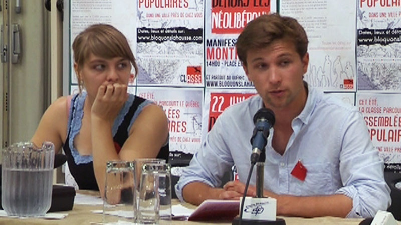 Gabriel Nadeau-Dubois, right, speaks at a media conference on Thursday, July 12, 2012.