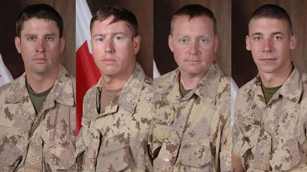 In this composite image from left to right, Sgt. Shane Stachnik, Warrant officer Frank Mellish, Warrant officer Richard Nolan and Pte. William Cushley are seen. (Department of National Defence)