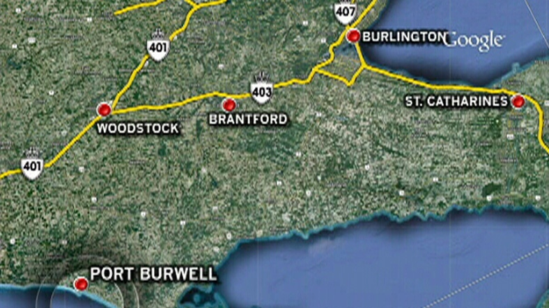 A map shows Port Burwell Provincial Park where three people were pulled from the water Friday, July 13, 2012.