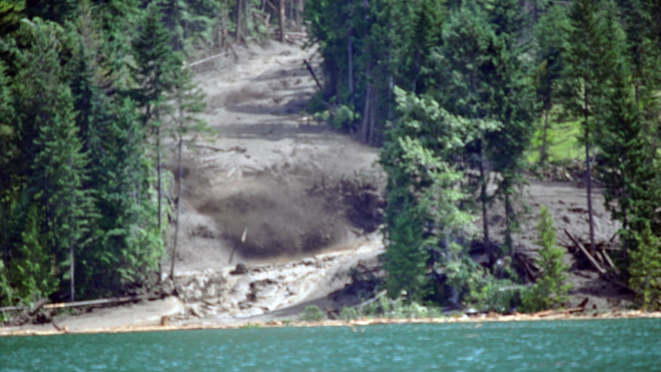 A MyNews contributor captured this photo of the landslide that swept through Johnsons Landing, B.C. on Thursday, July 12, 2012. (Jacey Entz / MyNews.CTVNews.ca)