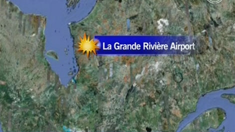 La Grande Rivi�re Airport is located near James Bay, as seen in this image courtesy Google Earth.