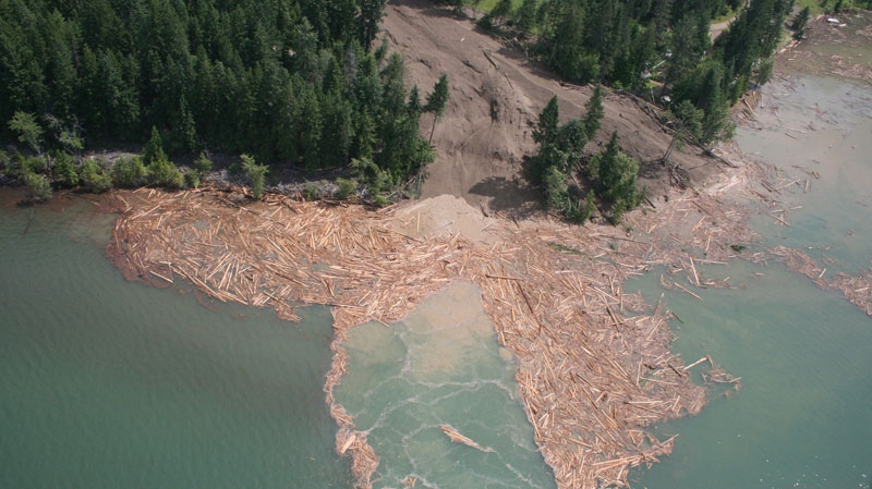 A landslide struck Johnsons Landing, a tiny hamlet on the shores of Kootenay Lake, B.C., Thursday, July 12, 2012. (British Columbia Ministry of Transportation and Infrastructure)