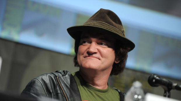 "Quentin Tarantino speaks at the ""Django Unchained"" panel at Comic-Con on July 14, 2012."