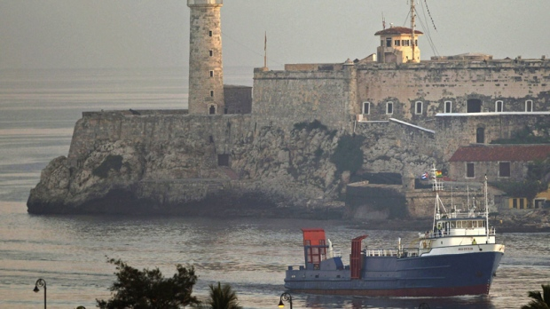 "U.S. cargo ship ""Ana Cecilia"" arrives in Cuba with American humanitarian supplies on July 13, 2012."