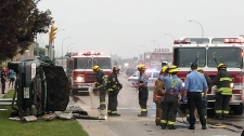 Police have closed traffic in all directions at Portage Avenue and Berry after a serious crash.