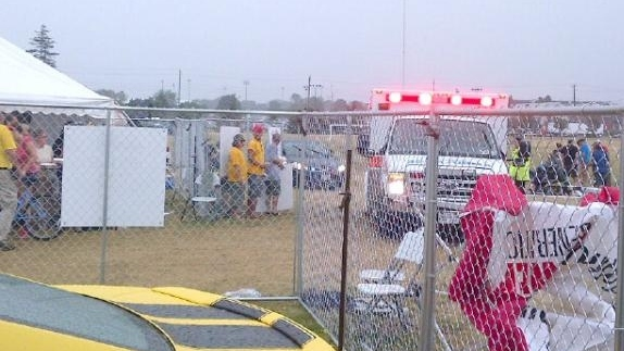 Paramedics attended to injured festival goers, after lightning struck a tent at the Whitby Ribfest on July 15, 2012. (Photo courtesy: Twitter)