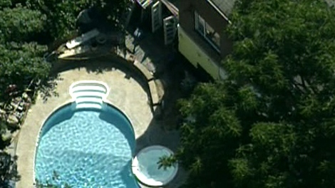 An aerial view of the swimming pool at 98 Baby Point Rd. on Tuesday, July 27, 2010.