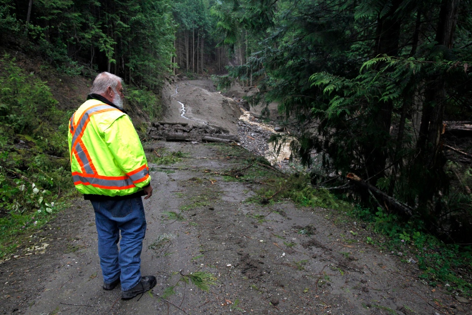 An employee of the B.C. Ministry of Transportation surveys a road that was torn away by a landslide that buried three homes and has left four people unaccounted for in Johnsons Landing, B.C., Sunday, July 15, 2012  (Jeff McIntosh / THE CANADIAN PRESS)
