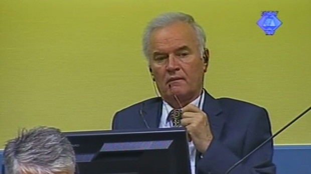 Ratko Mladic in the court room in The Hague, Netherlands Monday July 9, 2012.