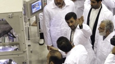 Mahmoud Ahmadinejad, second right, at Iran's Fuel Manufacturing Plant outside Isfahan n Apri, 2009.