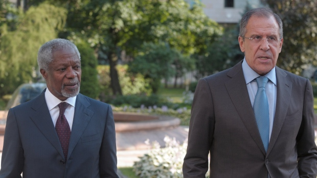 Russian Foreign Minister Sergey Lavrov, right, meets U.N. special envoy Kofi Annan, in Moscow, Russi