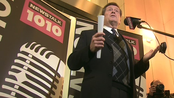 John Tory speaks to reporters from News Talk 2010 offices, where he is currently employed, on Jan 7, 2010.