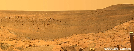 Mars Exploration Rover Spirit captured this westward view from atop a low plateau where Sprit spent the closing months of 2007. (NASA/JPL-Caltech)