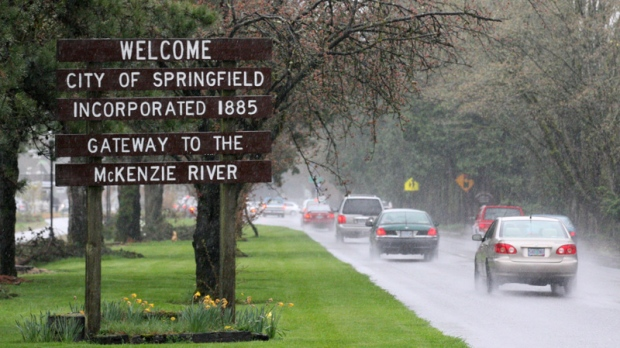 "A ""Welcome to Springfield"" sign along a road in Springfield, Ore. is seen on April 10, 2012."