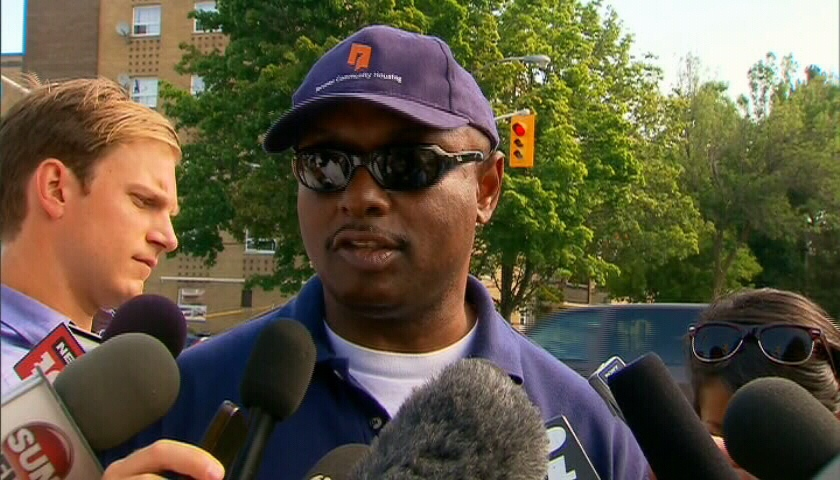CEO of the Toronto Community Housing Corporation Gene Jones speaks to the media about the mass shooting in Toronto on Tuesday, July 17, 2012.