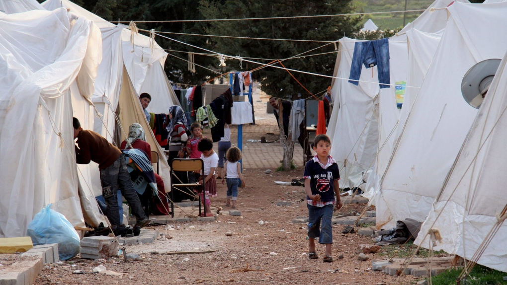 Syrian refugees are seen at a camp in Reyhanli, Turkey
