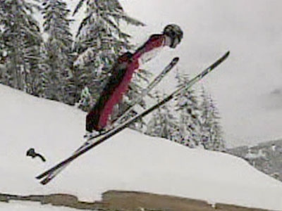 A ski jumper takes off from a ramp in Vancouver, B.C. on Jan. 4, 2008.