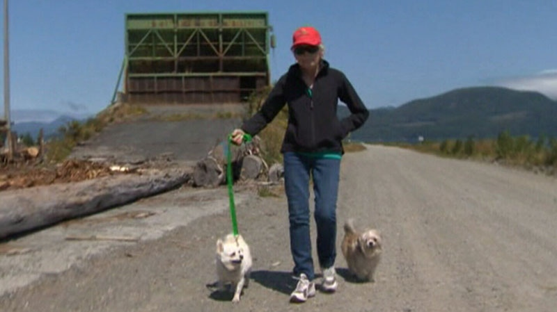 Jacqui Simenson walks her dogs along the Sayward, B.C. pathway where they were attacked by two cougars. July 17, 2012. (CTV)