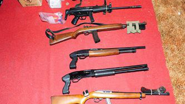 Weapons found in a home where two men were arrested in connection with a 1978 homicide were seized. (Courtesy Barrie Police)