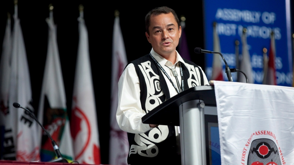 National Chief Shawn A-in-chut Atleo speaks during the opening ceremonies of The Assembly of First Nations Annual General Assembly in Toronto on July 17, 2012. (Michelle Siu / THE CANADIAN PRESS)
