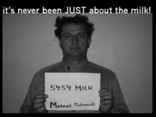 A promotional image for 'Milk Trial by Jury,' a comedic operetta detailing the trial of raw milk activist Michael Schmidt.