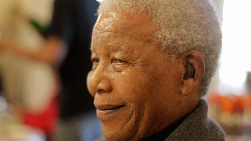 Former South African President Nelson Mandela as he celebrates his birthday in Qunu, South Africa on Wednesday, July 18, 2012. (AP / Schalk van Zuydam)