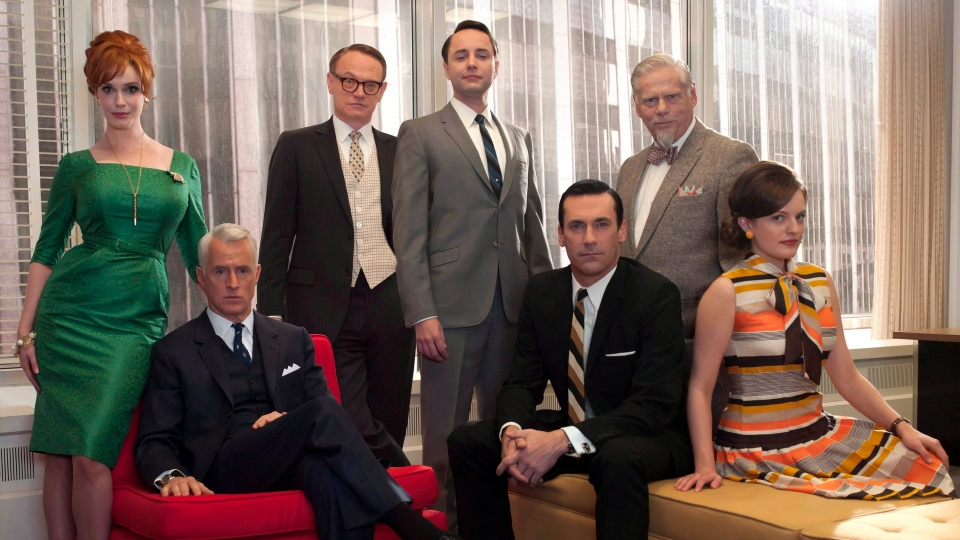 The cast of 'Mad Men,' from left, Christina Hendricks, John Slattery, Jared Harris, Vincent Kartheiser, Jon Hamm, Robert Morse and Elisabeth Moss are shown in this undated image released by AMC. (Frank Ockenfels / AMC)