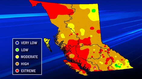 Fire hazard ratings were high to extreme for most parts of B.C. on July 30, 2010. (CTV)