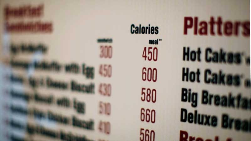 This July 18, 2008 file photo shows a McDonalds drive-thru menu in New York printed with calorie counts for each food item. (AP  /Ed Ou, File)