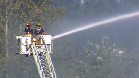 Firefighters battle a one hectare blaze on Burnaby Mountain on Thursday, July 29, 2010. (CTV)