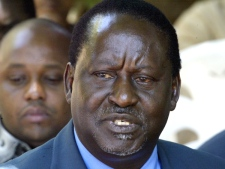 Raila Odinga, Opposition leader of Orange Democratic Movement (ODM) at a Press conference in Nairobi, Kenya, Saturday, Jan. 5, 2008. (AP / Sayyid Azim)