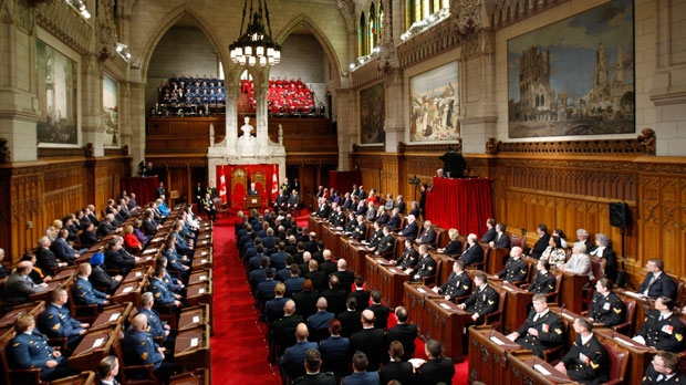 An overview of a ceremony in the Senate is seen on Thursday, Nov. 24, 2011. (The Canadian Press/Adrian Wyld)