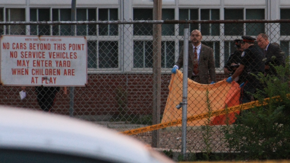Toronto police are investigating after the body of a man was found suffering gunshot wounds at a north-end school on Thursday, July 19, 2012. (Tom Stefanac / CTV Toronto)