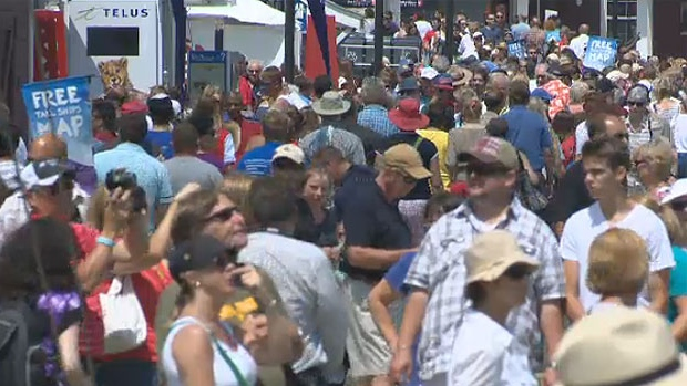 Thousands of people are converged on the Halifax waterfront for the Tall Ships Festival.