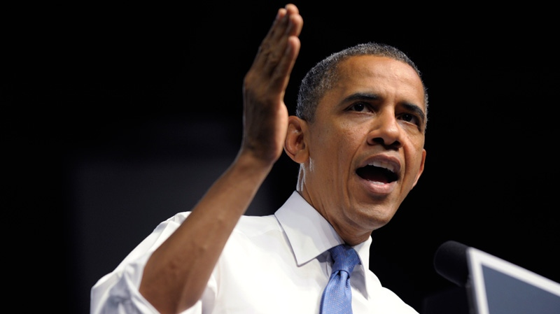 President Barack Obama speaks at a campaign event at the Prime Osborn Convention Center in Jacksonville, Fla., Thursday, July 19, 2012.  (AP / Susan Walsh)