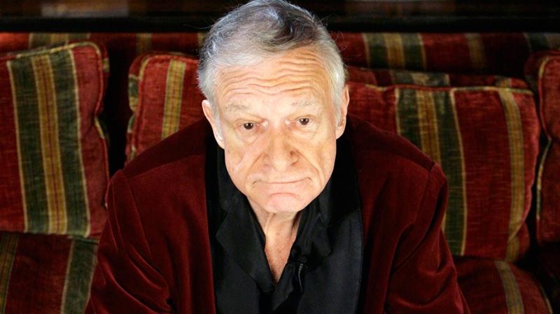 Hugh Hefner poses at the Playboy Mansion in Los Angeles on April 5, 2007. (AP / Damian Dovarganes)