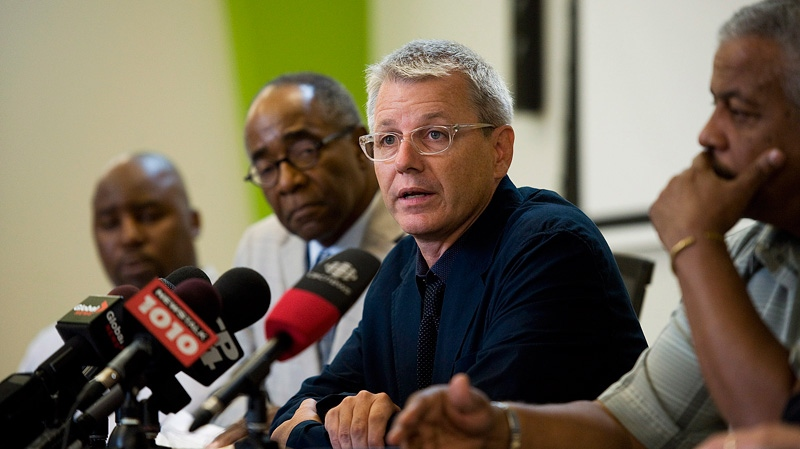 Councillor Adam Vaughn speaks during a press conference organized by members of the African Canadian Community to speak out against gun violence at the Don Montgomery Centre in Toronto on Thursday July 19, 2012. (Aaron Vincent Elkaim / THE CANADIAN PRESS)