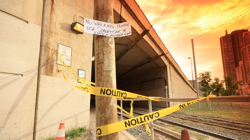 The TTC warns commuters to avoid the Humber Loop area after more concrete fell from the Gardiner Expressway in this July 2012 file photo. (Tom Stefanac / CTV Toronto)