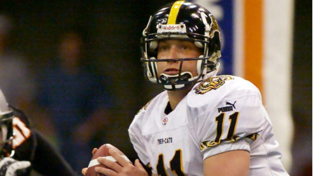 Then-Hamilton Tiger-Cats quarterback Cody Ledbetter looks for a receiver  during a game 27b6d8601