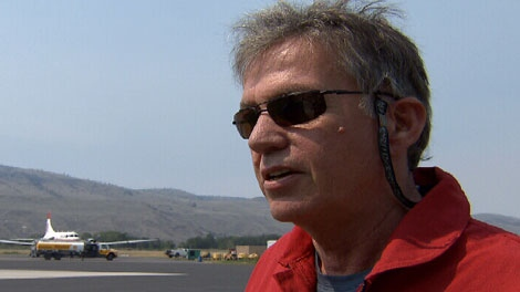 Pilot Tim Whiting speaks to CTV News before flying an air tanker to fight growing wildfires in B.C.'s Interior. August 1, 2010. (CTV)