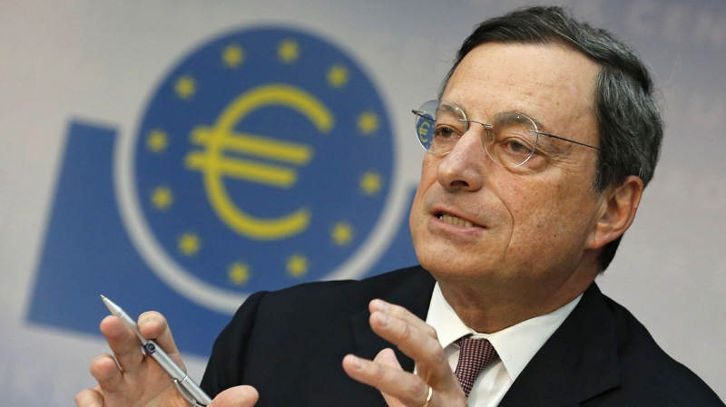 In this July 5, 2012 file photo President of the European Central Bank Mario Draghi speaks during a news conference in Frankfurt, central Germany. (AP Photo/dapd, Mario Vedder, File)