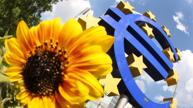 A sunflower stands in front of a Euro sculpture in Frankfurt, Germany, on July 5, 2012.