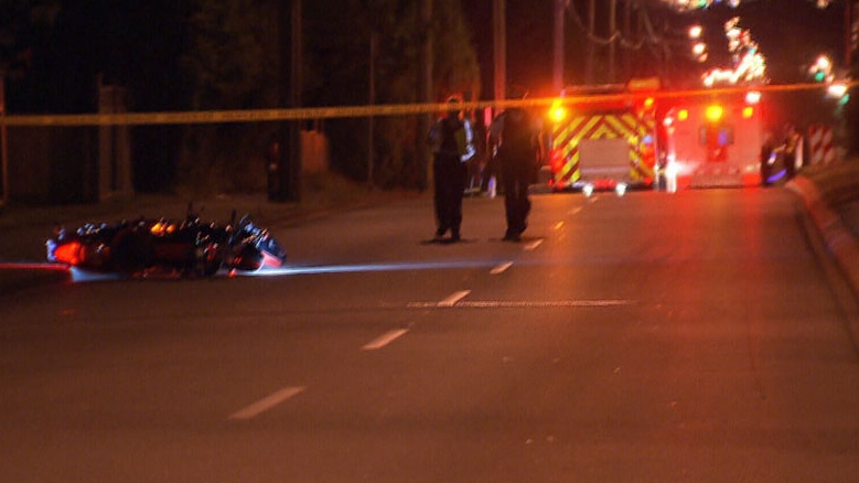 One man is dead following a collision in Surrey, B.C. July 22, 2012. (CTV)