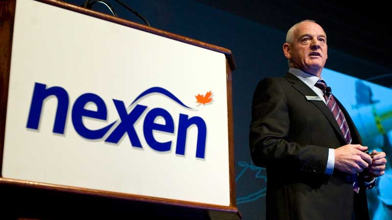 Kevin Reinhart, interim president and CEO of Nexen, addresses the company's annual meeting in Calgary, Wednesday, April 25, 2012. (Jeff McIntosh / THE CANADIAN PRESS)