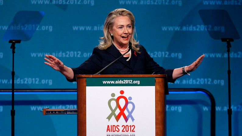 U.S. Secretary of State Hillary Rodham Clinton speaks at the XIX International Aids Conference in Washington, Monday, July 23, 2012. (AP / Carolyn Kaster)